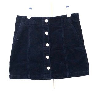 Forever21 Navy Blue Button up Corduroy skirt